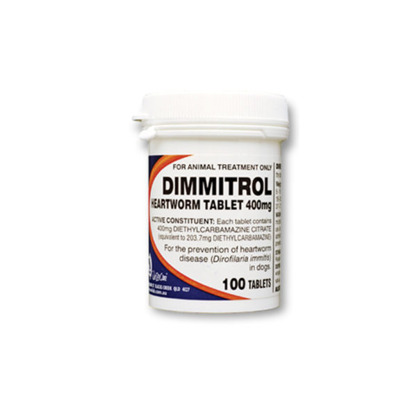 Dimmitrol Daily Heartworm Tablets 400mg - 100 Pack